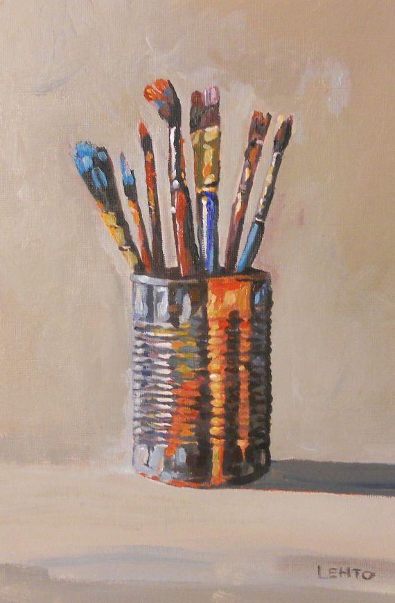 Dirty Paint Brushes by Laura Lehto using not accurate lines making it not clear and more like a painting