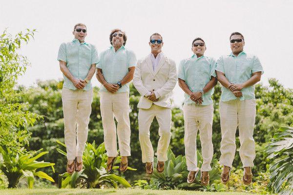 Groomsmen outfit idea for beach wedding - khakis, teal button-downs + flip-flops {Angie Diaz | PHOTOGRAPHY}