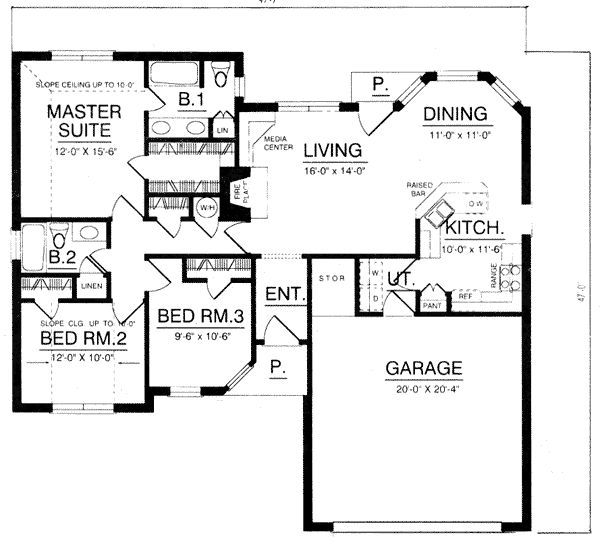 House Plan Chp 2040 At 1376 Square Feet