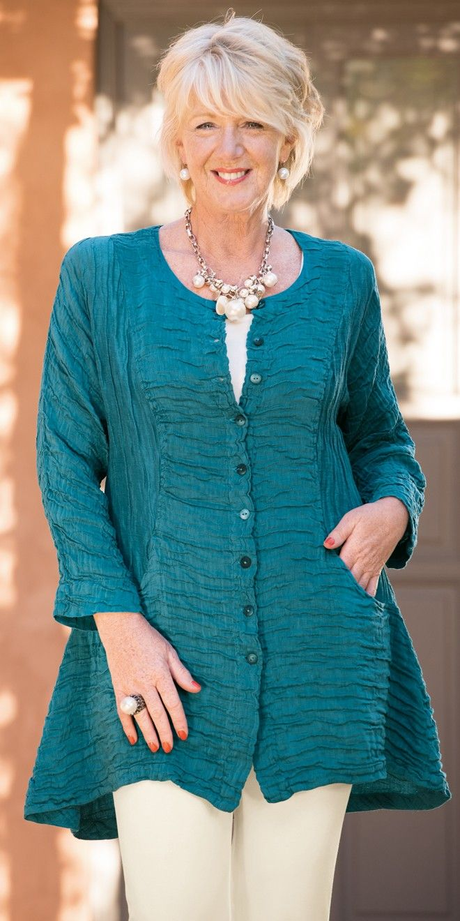Grizas petrol silk/linen crinkle button jacket