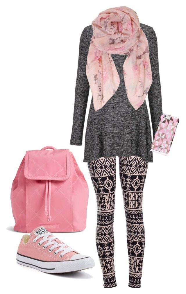 """""""Pink Gray leggings outfit without jewelry"""" by binkettestrinkets on Polyvore featuring maurices, Kate Spade, Vera Bradley, Humble Chic and Converse"""