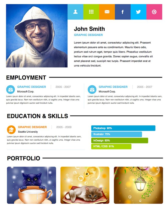 100 Absolutely Free Responsive Html5Css3 Website Templates. Resume