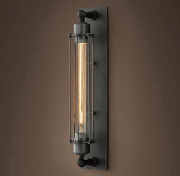 Grand Edison Caged Sconce Gunmetal  (Adam would love this... and could look great next to the TV over the mantle)