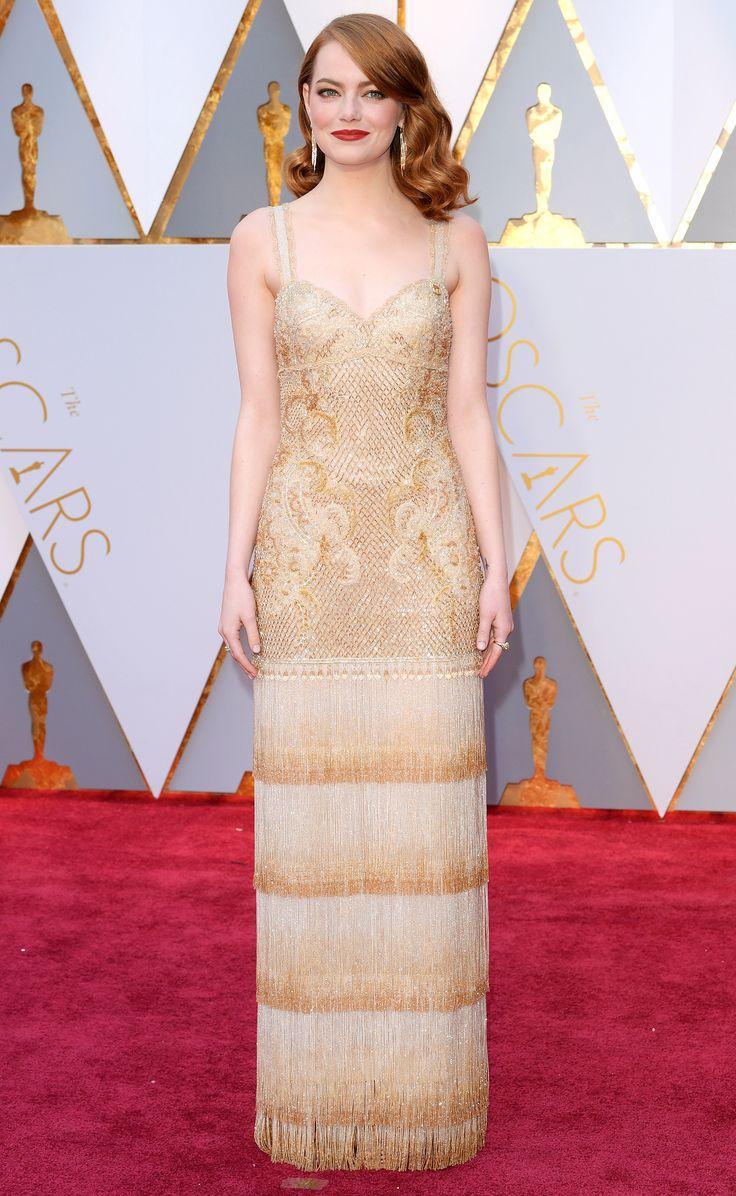 Oscars 2017: Emma Stone Wears Gold Givenchy to The Academy Awards