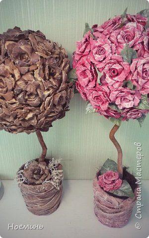 Розы сделаны из яичных лотков по мк из интернета фото 1