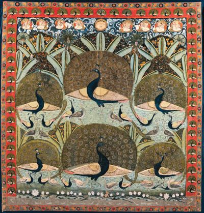 A Pichhavai of Peacocks   India, Rajasthan, 19th Century   Brightly painted with cavorting peahens and peacocks, six with plumes unfurled in a garden setting with flowering and fruit bearing trees and scampering monkeys, a lotus pond below with swimming fish, and with flying deities above in chariots driven by geese and mythical creatures, bordered by peacocks and floral sprays on an orange ground  109½ x 103½ in. (278 x 263 cm.)