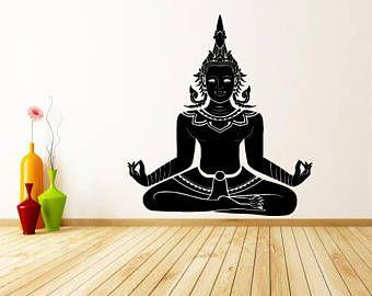 Wall Window Decal Sticker Shiva God Yoga Meditation Mandala Hindu Yoga Studio Decor 959b