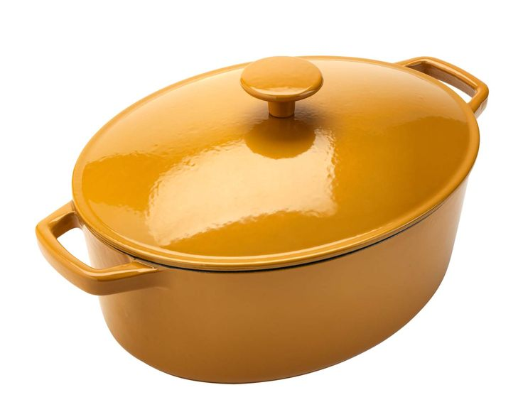 The bright yellow hue of this oval cast iron casserole dish will brighten up your kitchen. Priced at £45.
