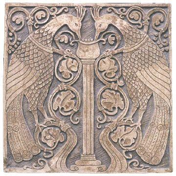 Batchelder -  DPI Peacock Carved Relief