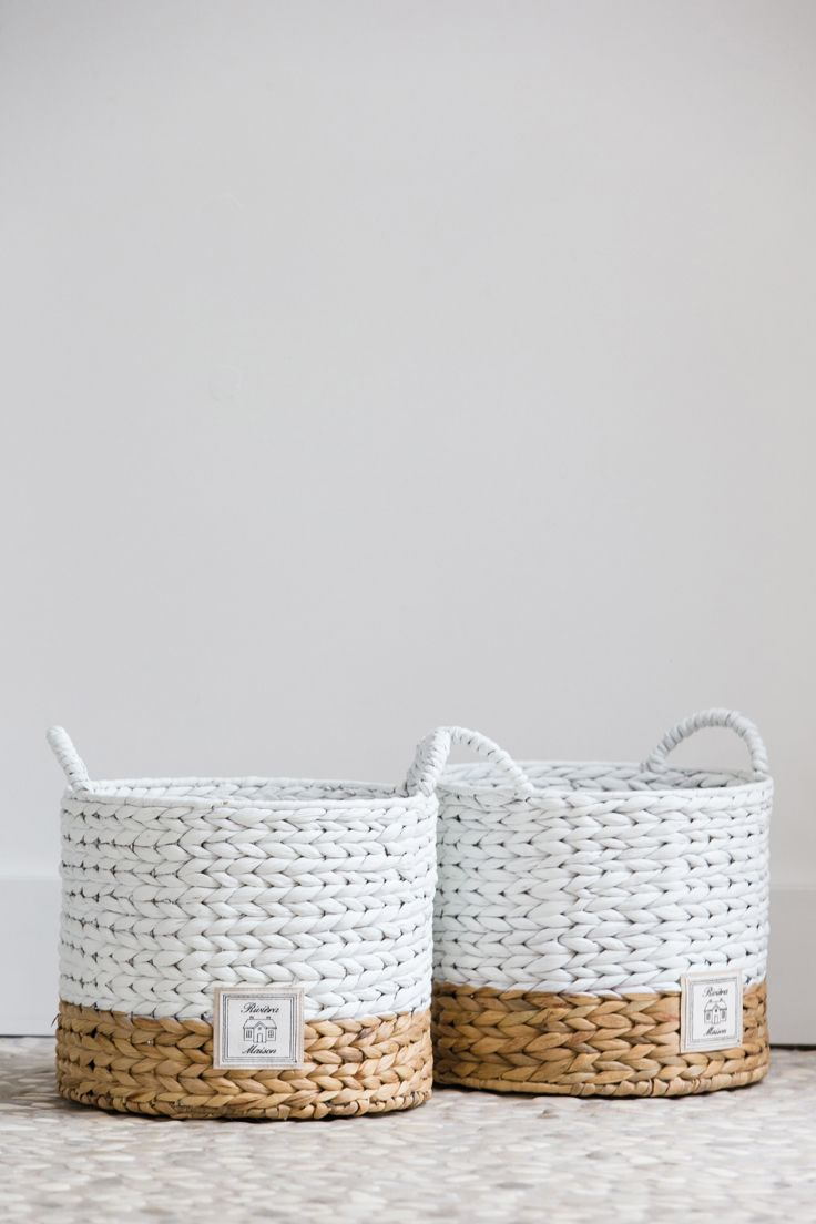 white neutral woven baskets