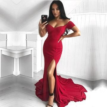 Charming Mermaid Prom Dress, Sexy Red Evening Dress, Split Side Long Party Dress