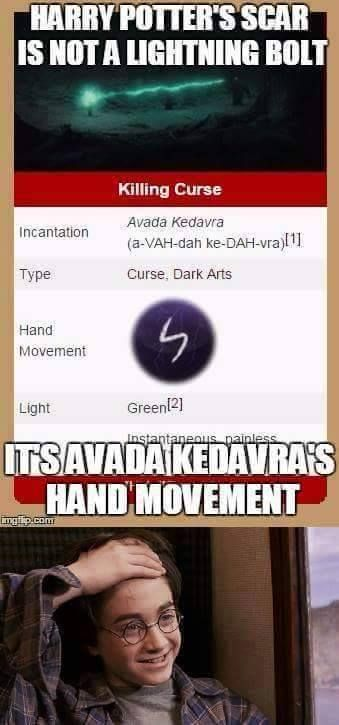 Sweet galloping Thestrals, my life is a lie!! Harry's scar isn't a lightening bolt, it's the hand movement for Avada Kedavra