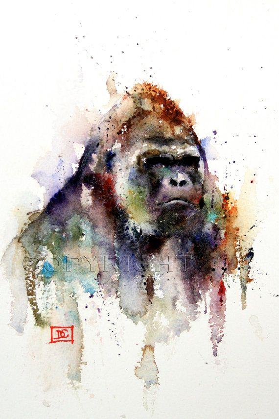 Gorilla GORILLA Aquarell Druck Gorilla Kunst Gemälde von