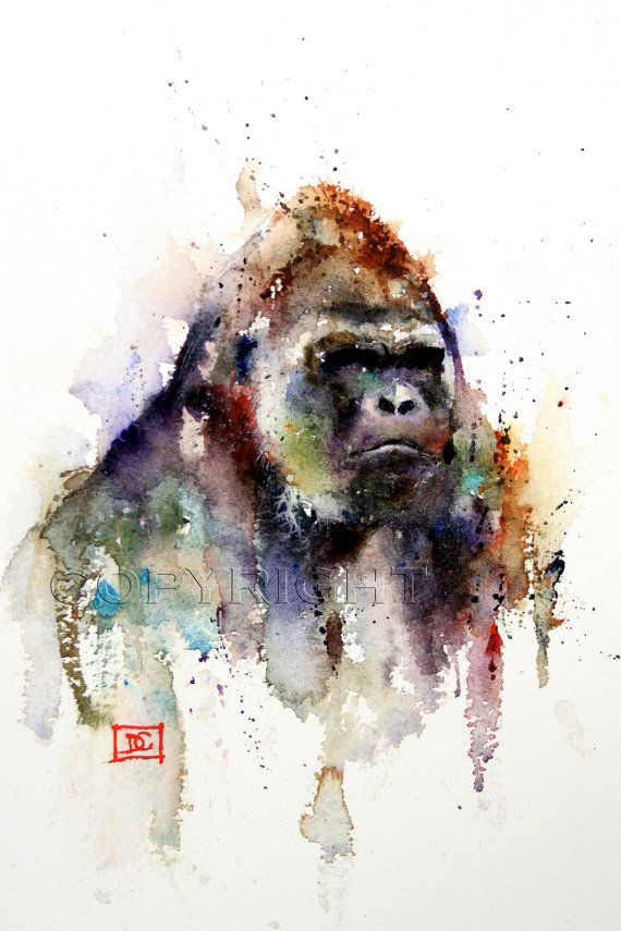 Impression aquarelle gorille Gorilla Art gorille par DeanCrouserArt