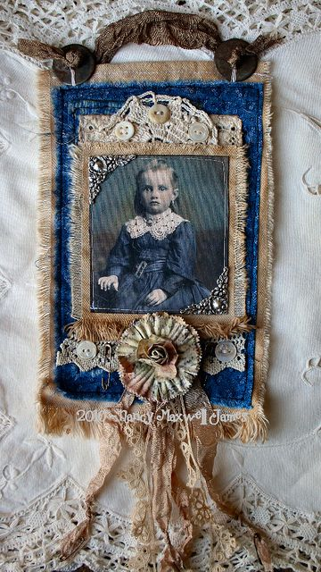 Vintage Fabric, Lace, & Cabinet Photo Collage