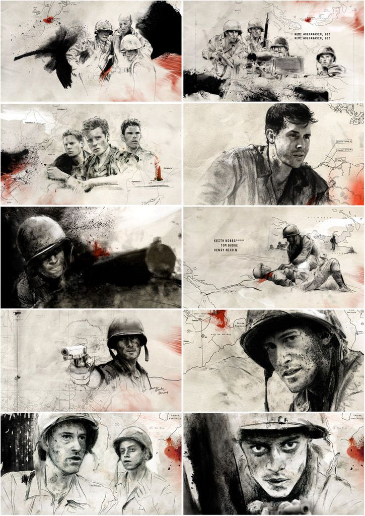 the pacific - all based on true events/charachters: eugene sledge, robert leckie, joe basilone...