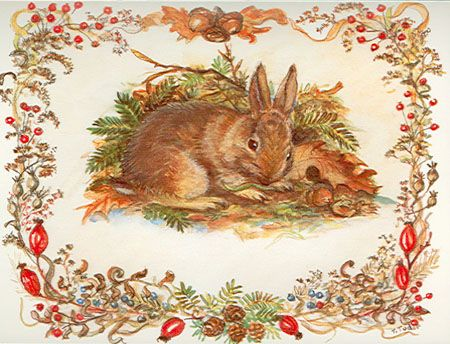 Holiday Cards, no. 13715: Tasha's Rabbit. National Wildlife Federation : Cellar Door Books - The World of Tasha Tudor