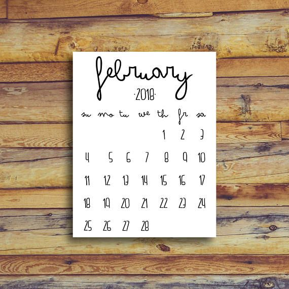 February 2018 Printable Calendar  Black And White  Instant