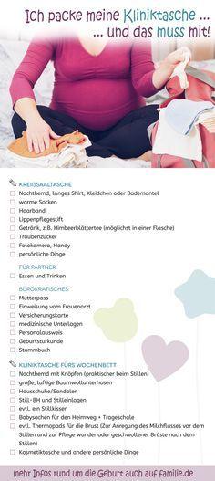 Kliniktasche: Hilfreiche Checkliste zum Ausdrucken. #pregnancy