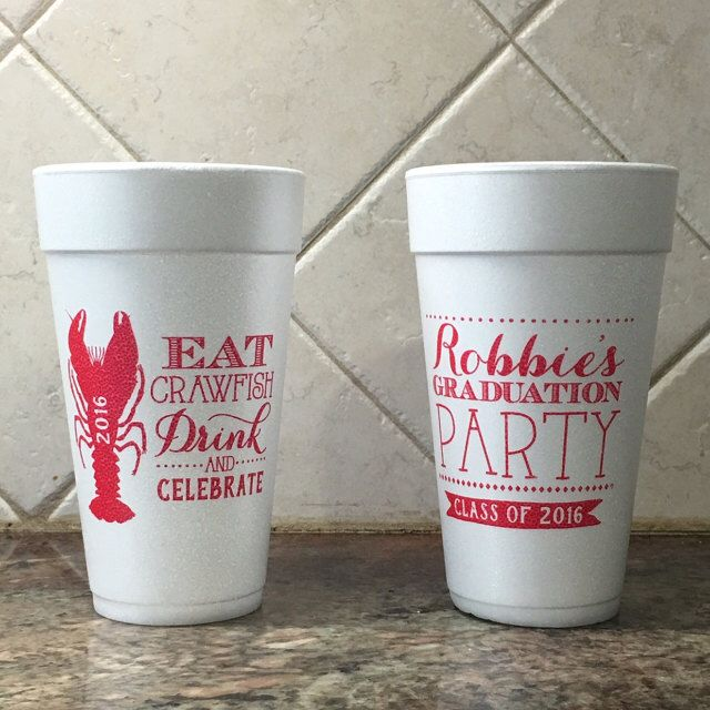 Crawfish Boil, Party Favors, Graduation Crawfish Boil, Party Cups, Graduation Party Cups, Graduation Party Favors, Styrofoam Cup, Foam, 1395 by SipHipHooray on Etsy https://www.etsy.com/listing/276378786/crawfish-boil-party-favors-graduation