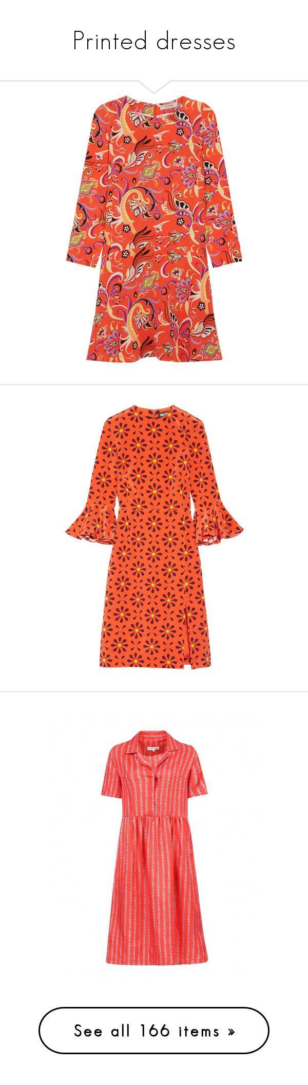 """Printed dresses"" by lorika-borika on Polyvore featuring dresses, etro, long sleeve dress, mini dress, orange, long-sleeve floral dresses, long sleeve mini dress, short dresses, red dress и long-sleeve mini dress"