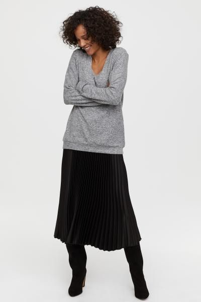 14a22a215d MAMA Fine-knit Nursing Sweater - Gray melange - Ladies