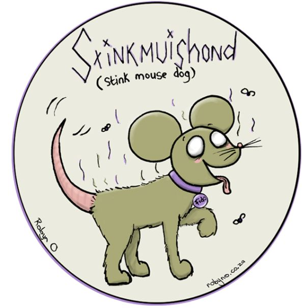 Stinkmuishond (A skunk) - Cute Illustrations of Directly Translated Afrikaans Words by RobynO (Me) BoredPanda