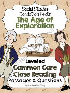 The Age of Exploration Nonfiction Leveled Texts with Comprehension Questions from The Sweetest Thing on TeachersNotebook.com - (89 pages) - Trying to integrate Social Studies with ELA? These Age of Exploration passages were written with 4th & 5th grade Social Studies & ELA standards in mind, but certainly could be used with other grade studying the content or during nonfiction text in
