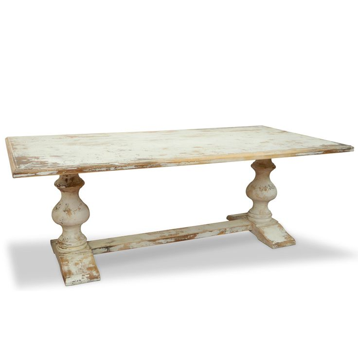 French Country Distressed Coffee Table: Heavily Distressed In Antique White To Add Rustic Charm