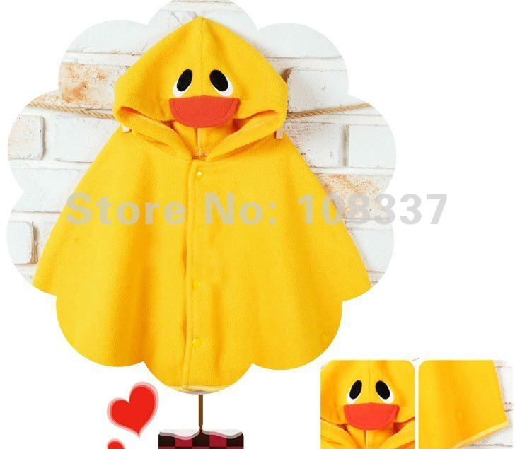 Cute polar fleece ponchos for kids - yellow duck, green frog, pink princess?, little red riding hood, black cat, brown bear, doggie with long floppy ears, etc.