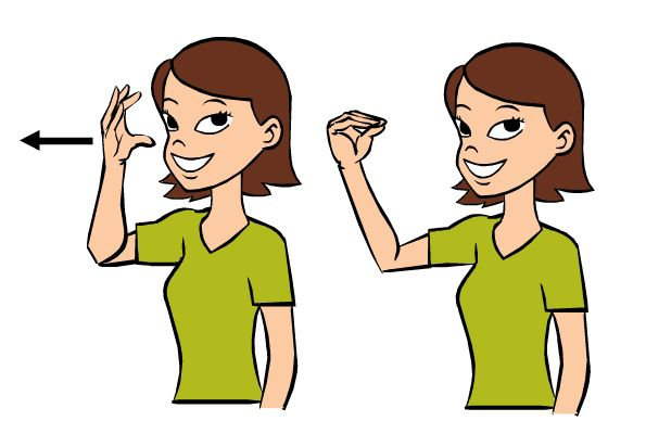 Video:  Outside in Baby Sign Language   Signing: Start with your hand open and near your face, then move it away from your face while closing