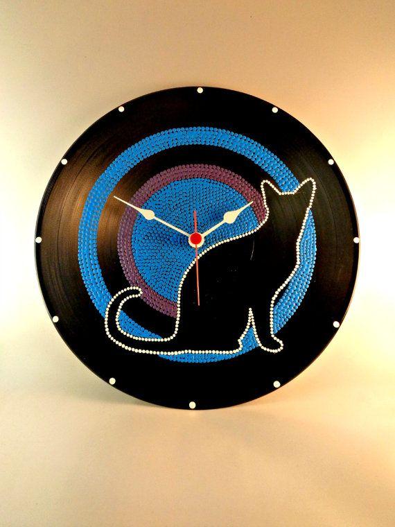 Kat, Vinyl klok, handgeschilderde, Blue, Purple, Upcycled, Vinyl Record wand decor