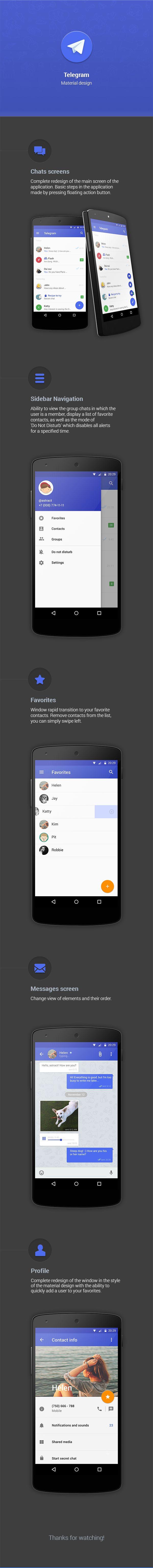 Telegram Material design for Android (2014) on Behance