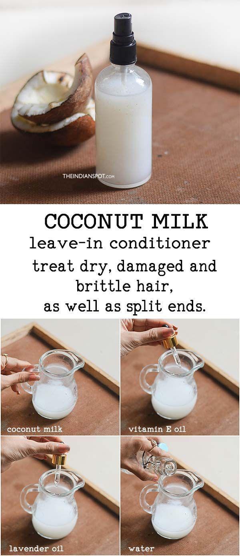 Kokosnussmilch in Spray auf Conditioner lassen , Kokosnussmilch in Spray auf Con…