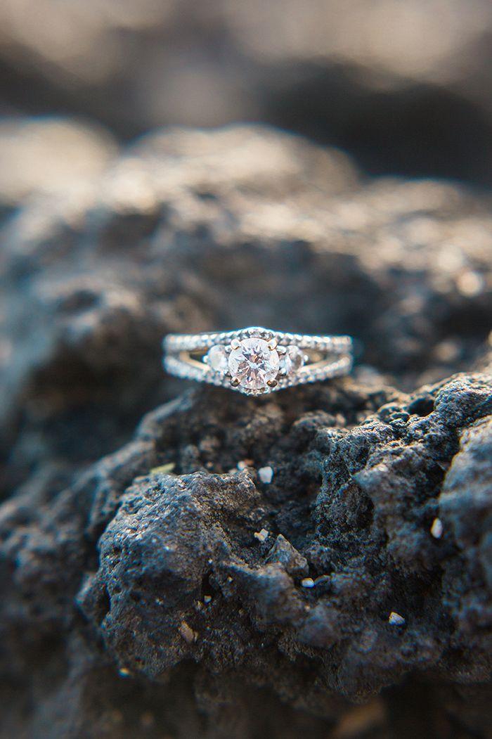 Triple Stone Engagement Ring    #wedding #weddingideas #destinationwedding #hawaii #fineartweddings #engagementring #engaged