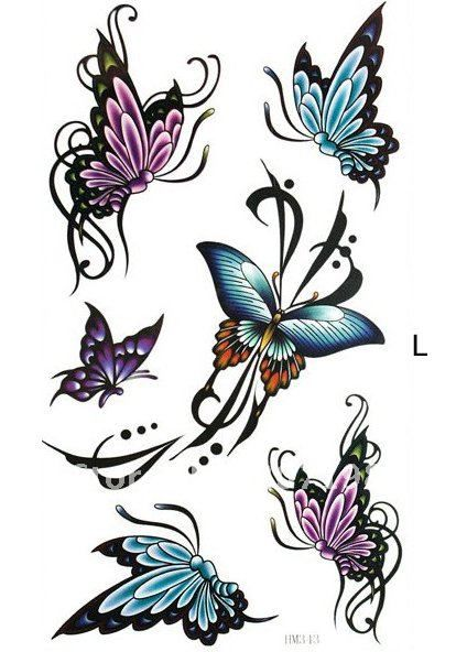 Butterfly and Flower Tattoos | Buy Butterfly flower rose Temporary tattoo sticker, transfer tattoo ...