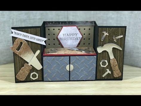 Tool Bench Fold Card Youtube Fun Fold Cards Fancy Fold Cards Folded Cards