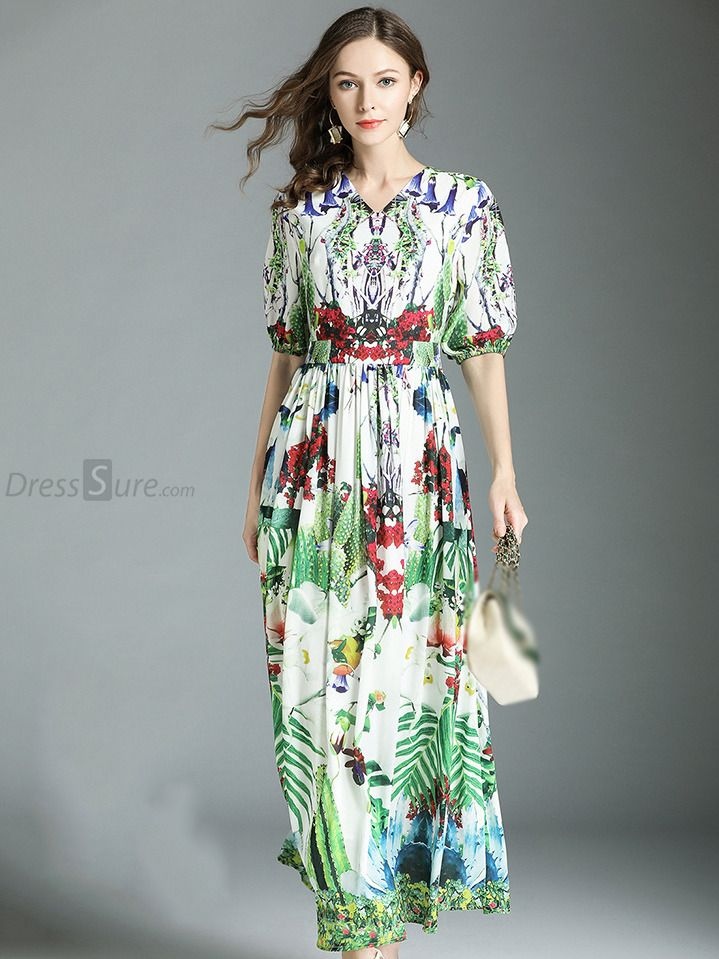 df80b54acd Buy Bohemian V-Neck Half Sleeve Big Hem Print Maxi Dress with High Quality  and Lovely Service at DressSure.com