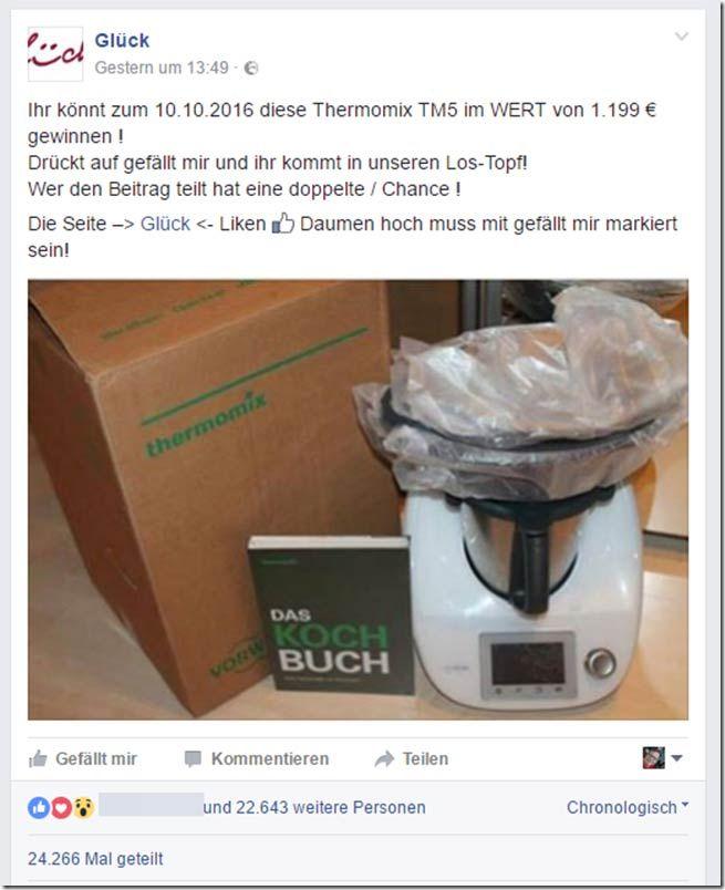 TM5 Gewinnspielwarnung - Achtung Facebook Falle
