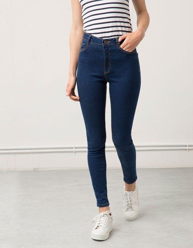 0f45a6fd73 Jeans Super Skinny tiro alto Bershka Pantalones Cintura Alta