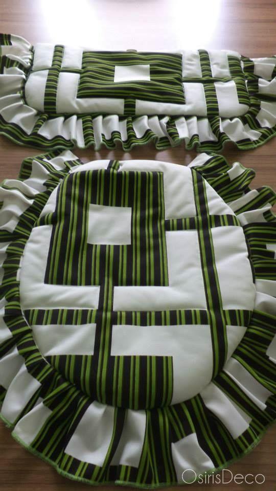 Juego de baño, 2 piezas Colores: Verde-Blanco-Negro #OsirisDeco #Home #Hogar