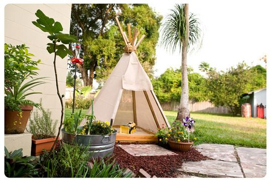 Teepee sandbox. Awesome idea for our hot Australian summers. And look how effortlessly it blends in with the rest if the yard design.
