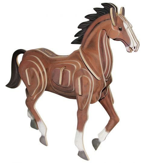 Its really  difficult  to find the toys that naughty kids will love & have fun time. This incredible 3D Horse Puzzle by Legler is the solution. 39 precision-cut plywood pieces can be easily slot into each other, this puzzle is just waiting to gallop its way into your child's life. Featuring a beautifully detailed paint finish wooden pieces, the puzzle once completed will look like its ready to leap off the table and take to the open fields.