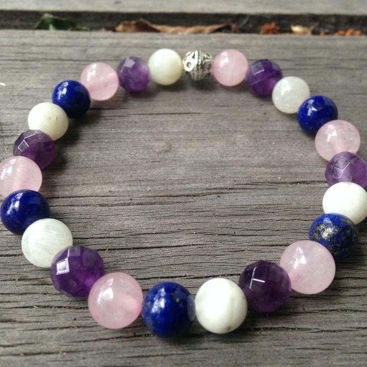 Rose Quartz, Amethyst, Lapis Lazuli and Moonstone Fertility Bracelet