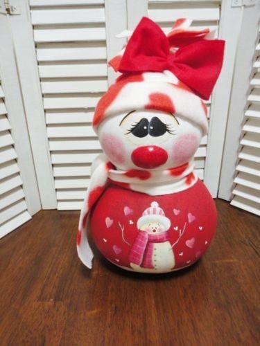 Handpainted Primitive Valentine Snowman Doll Gourd
