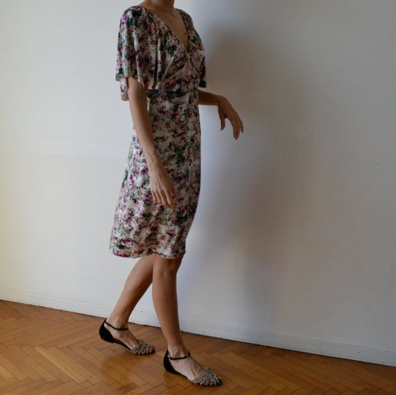 Floral dress / midi length dress / dress with by MuguetMilan