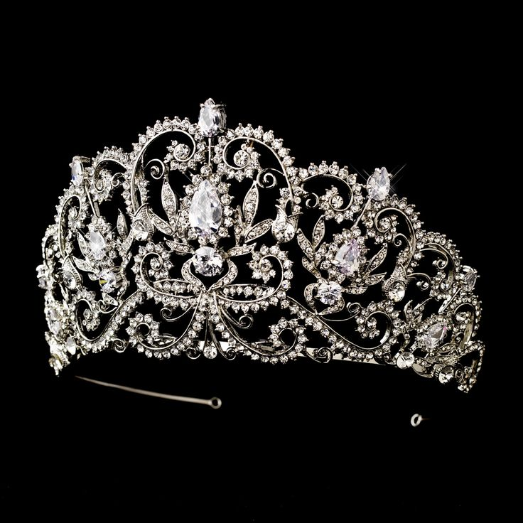 "Captivating  3 1/2"" Rhinestone and CZ Wedding and Quinceanera Tiara  -- Affordable Elegance Bridal -"