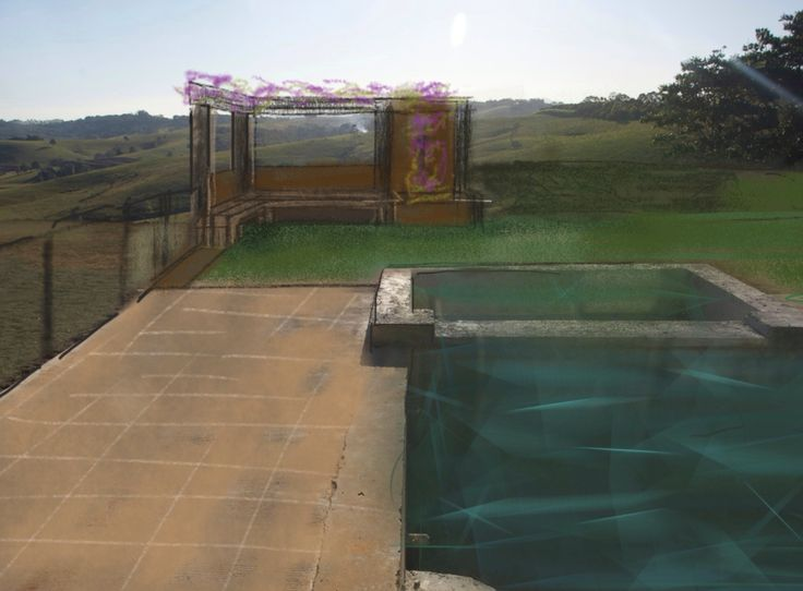 Sketch for Byron Hilltop pool fence and seating with glass Corten steel and recycled bridge timber