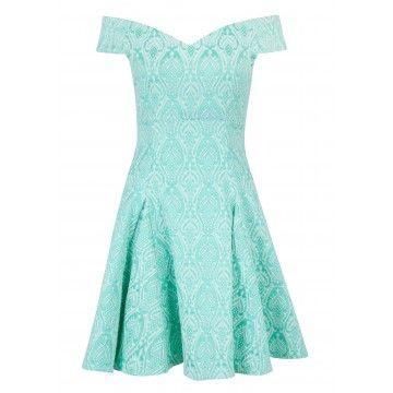 Closet Mint Jacquard Bardot Skater Dress
