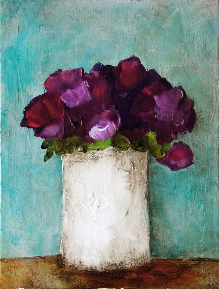 "ORIGINAL  ""Violet in White Vase"" - Inflorescence series - Donna Downey"